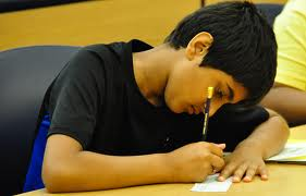 Child writing two