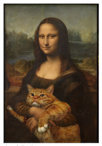 mona lisa with a cat